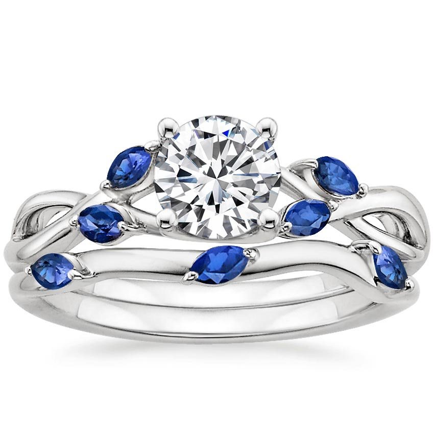 18K White Gold Willow Matched Set With Sapphire Accents, top view
