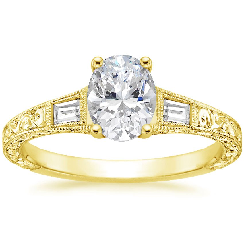 18K Yellow Gold Regalia Diamond Ring, top view