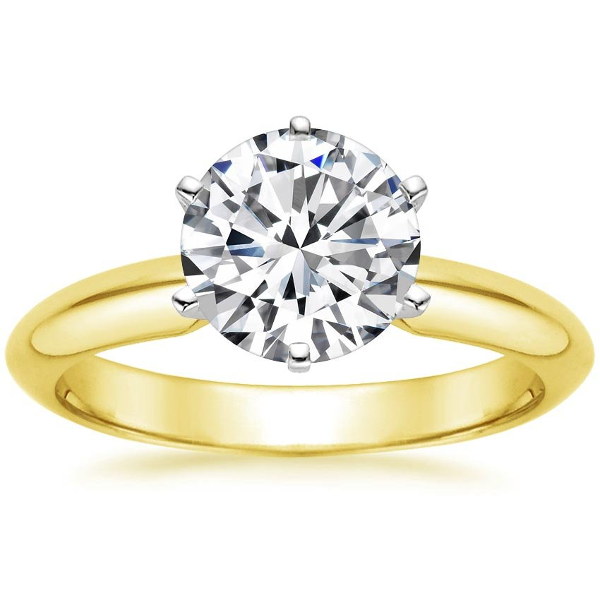 18K Yellow Gold Six-Prong Classic Ring, top view