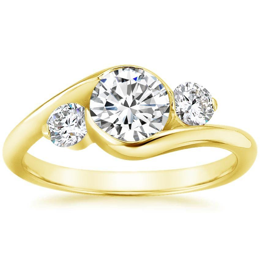 18K Yellow Gold Cascade Three Stone Ring (1/3 ct. tw.), top view