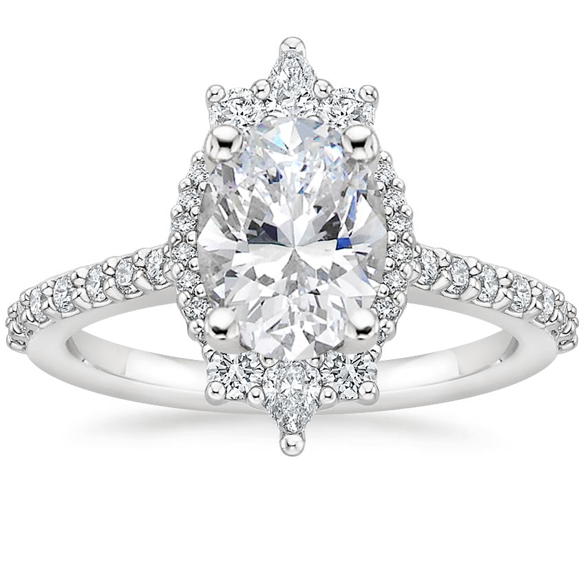 Oval Pear Shaped Diamond Halo Engagement Ring