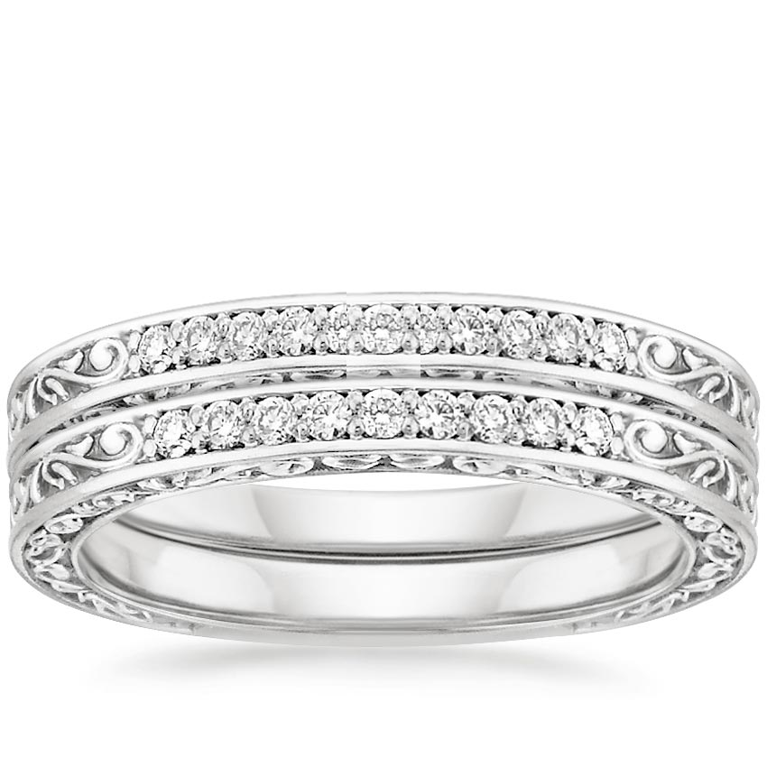 18K White Gold Delicate Antique Scroll Diamond Bridal Set