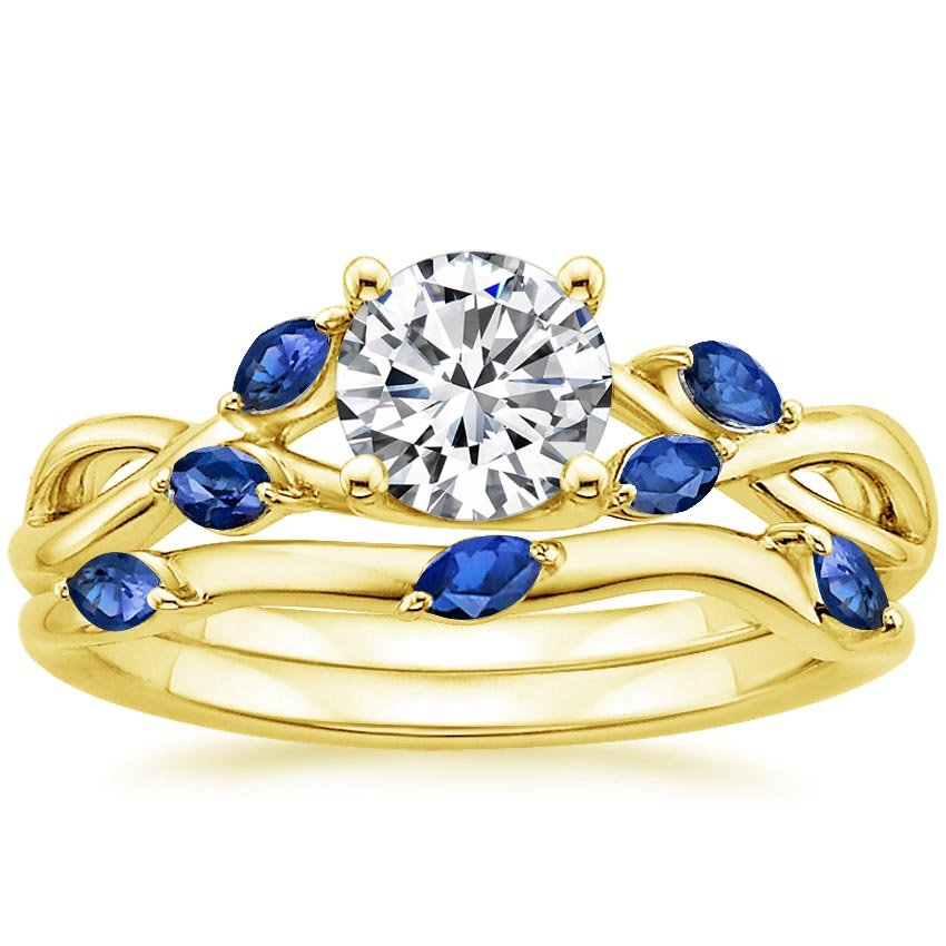18K Yellow Gold Willow Matched Set With Sapphire Accents, top view