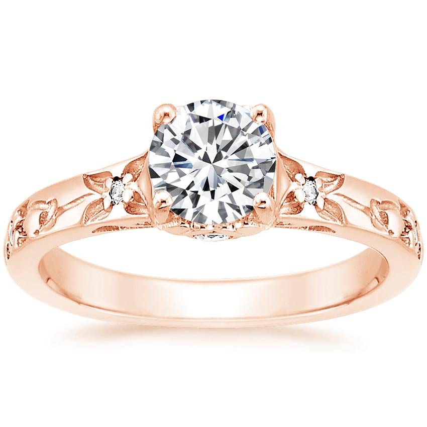 Rose Gold Flower Bud Diamond Ring