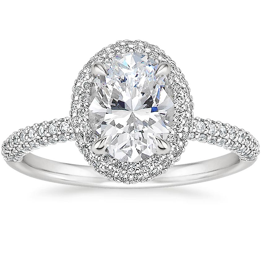 Oval 18K White Gold Valencia Halo Diamond Ring (1/2 ct. tw.)