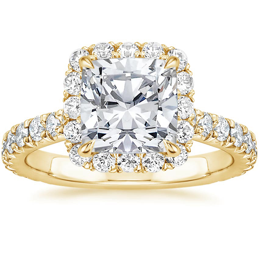Cushion 18K Yellow Gold Estelle Diamond Ring (3/4 ct. tw.)