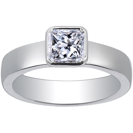 Radiant Platinum Square Bezel Ring