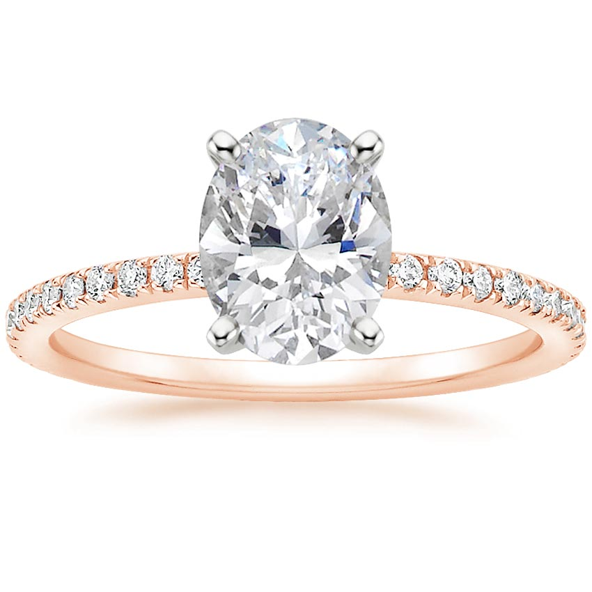 Oval 14K Rose Gold Luxe Ballad Diamond Ring (1/4 ct. tw.)