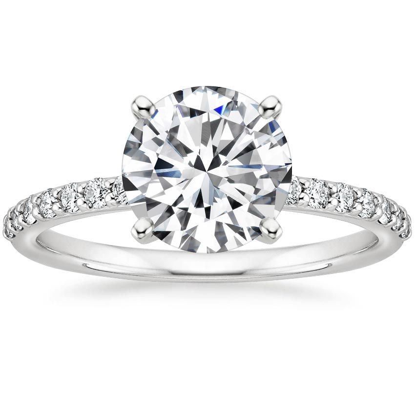 Round Petite Shared Prong Diamond Engagement Ring
