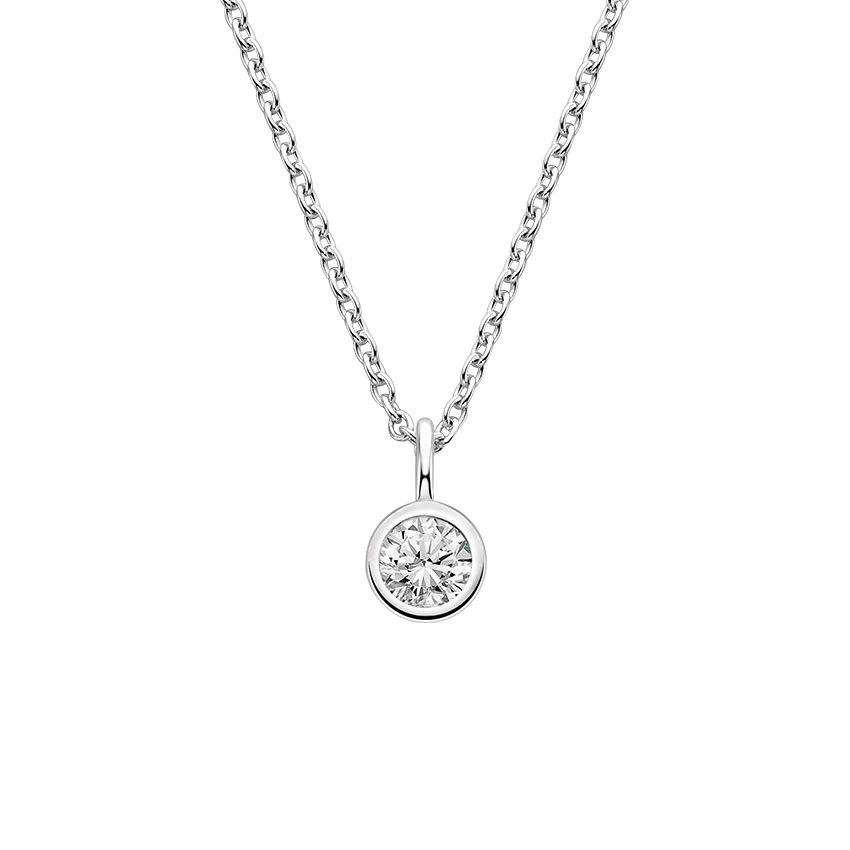 18K White Gold Dewdrop Pendant, top view