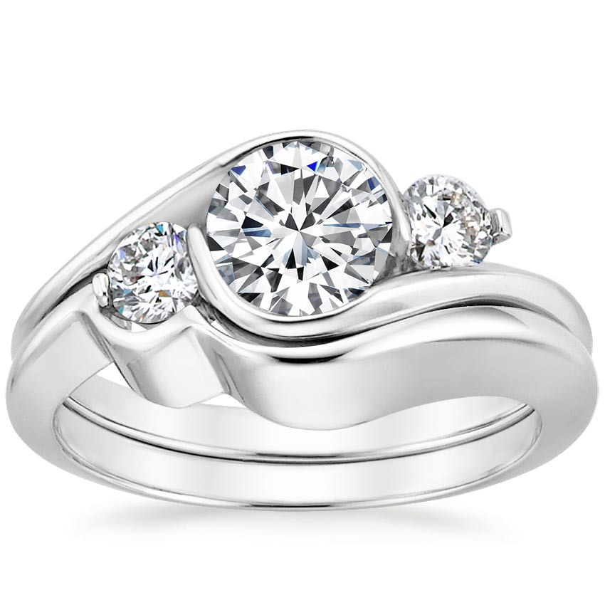 Engagement Rings No Stone: 18K White Gold Cascade Three Stone Matched Set (1/3 Ct. Tw