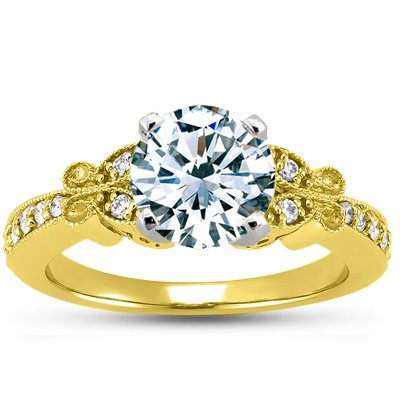 18K Yellow Gold Monarch Diamond Ring, top view