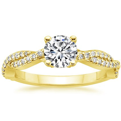 Round 18K Yellow Gold Twisted Vine Diamond Ring (1/4 ct. tw.)