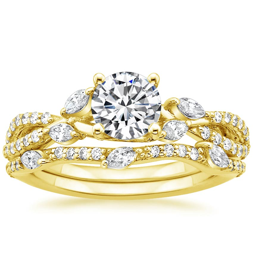18K Yellow Gold Luxe Willow Matched Set (1/2 ct. tw.), top view