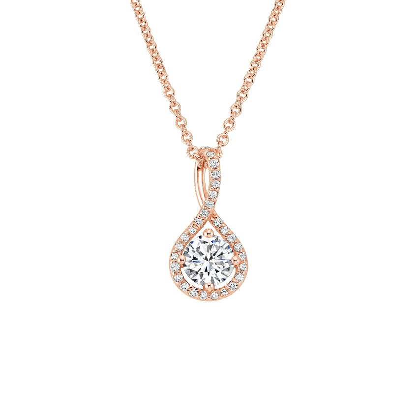 14K Rose Gold Diamond Pavé Twist Pendant, top view