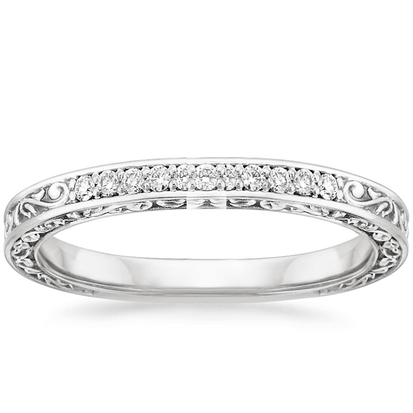 18k white gold delicate antique scroll diamond ring - Antique Style Wedding Rings