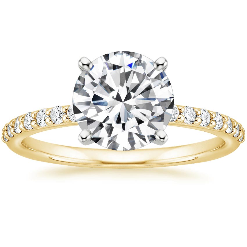 Round 18K Yellow Gold Petite Shared Prong Diamond Ring (1/4 ct. tw.)