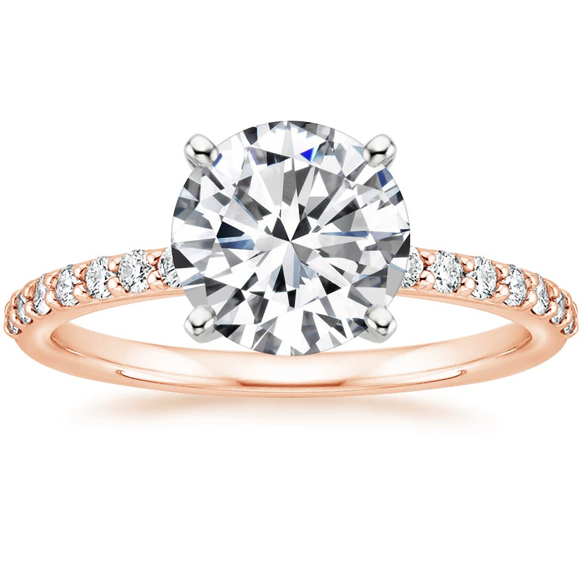 Round 14K Rose Gold Petite Shared Prong Diamond Ring (1/4 ct. tw.)