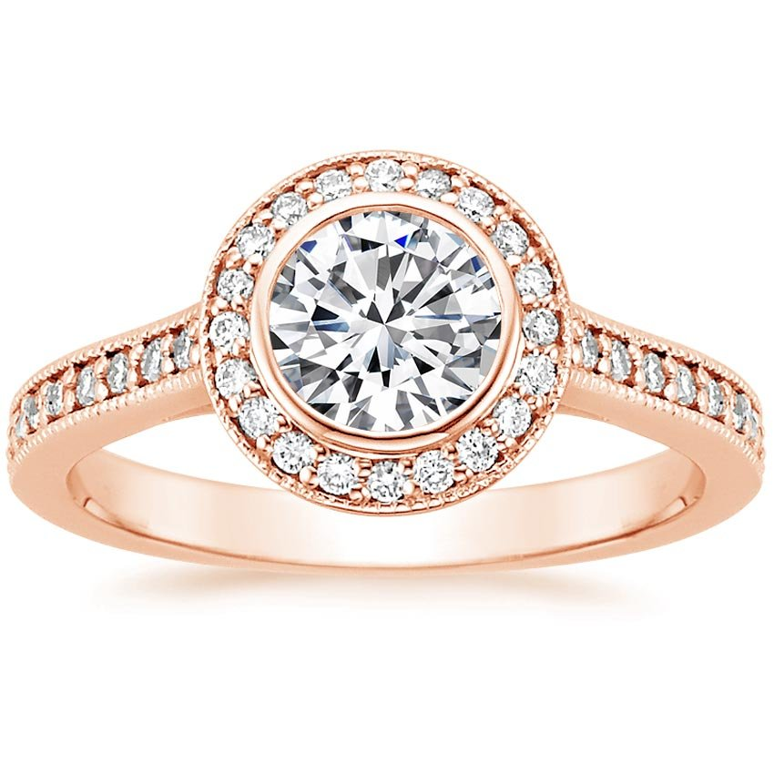 Round 14K Rose Gold Round Bezel Halo Diamond Ring with Side Stones (1/3 ct. tw.)