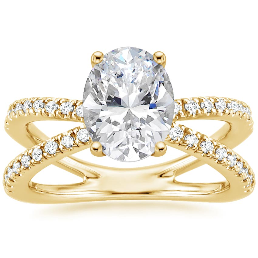 Oval 18K Yellow Gold Bisou Diamond Ring (1/3 ct. tw.)