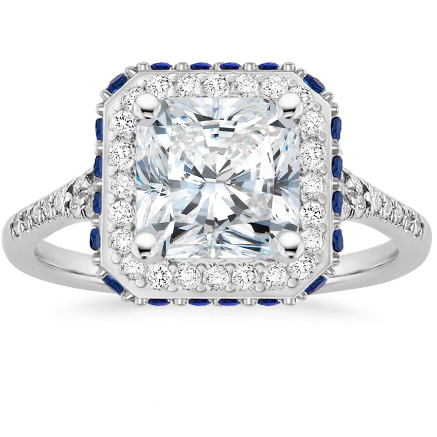 Radiant Platinum Circa Diamond Ring with Sapphire Accents (1/3 ct. tw.)