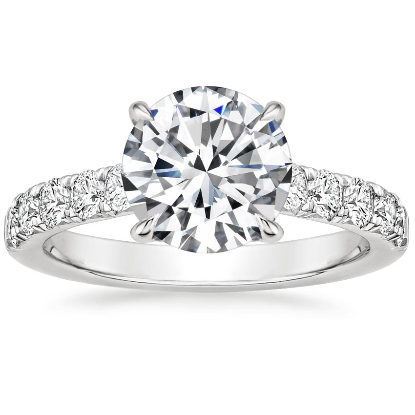 Round French Pavé Engagement Ring