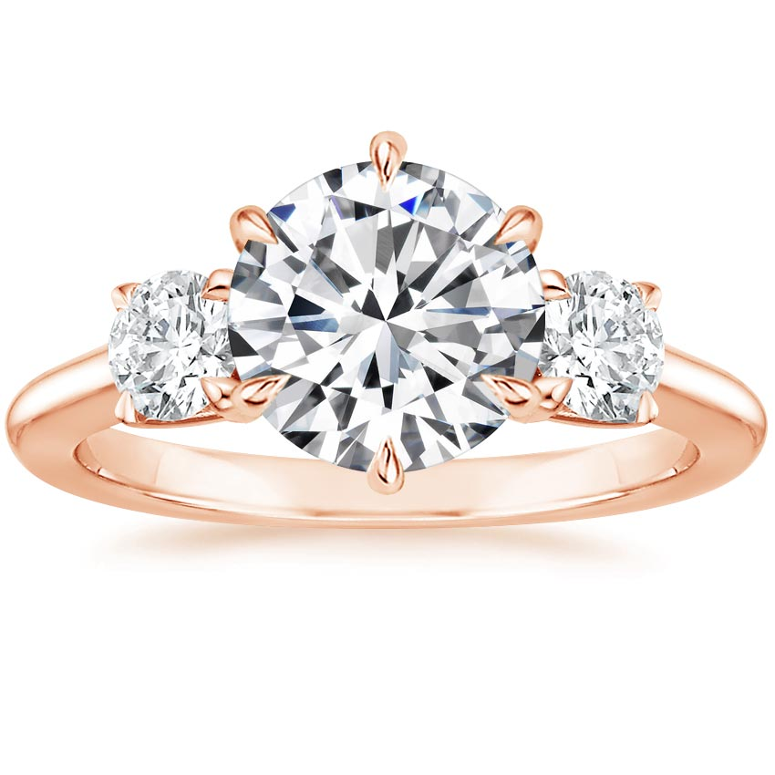 Round 14K Rose Gold Three Stone Catalina Diamond Ring (1/2 ct. tw.)