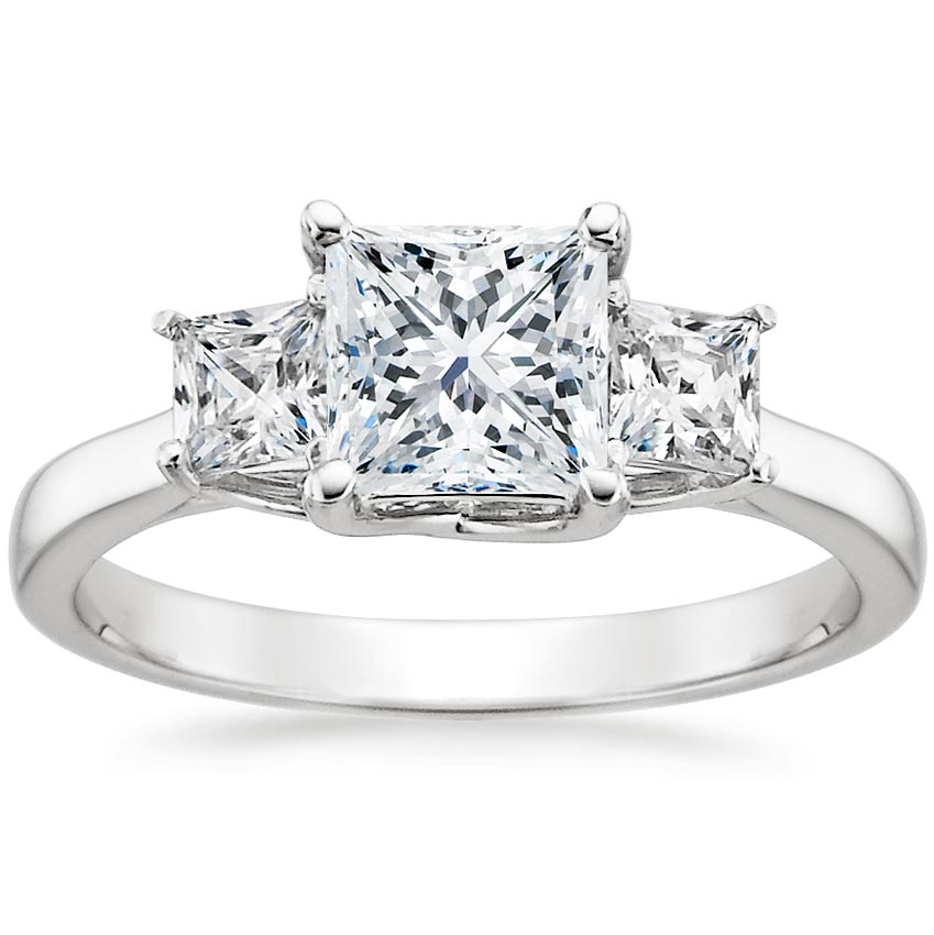 Platinum Three Stone Princess Diamond Trellis Ring (1/2 ct. tw.), top view