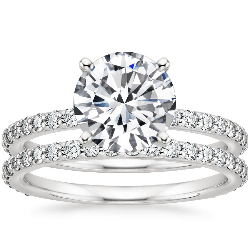 18K White Gold Luxe Petite Shared Prong Diamond Bridal Set (3/4 ct. tw.)