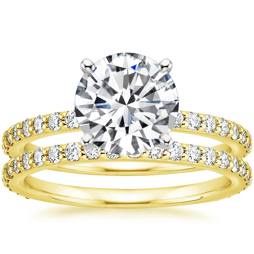 18K Yellow Gold Luxe Petite Shared Prong Diamond Bridal Set (3/4 ct. tw.)
