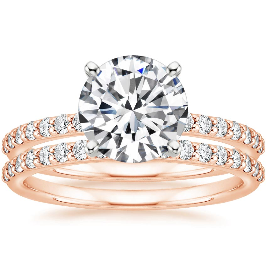 14K Rose Gold Petite Shared Prong Bridal Set (1/2 ct. tw.)