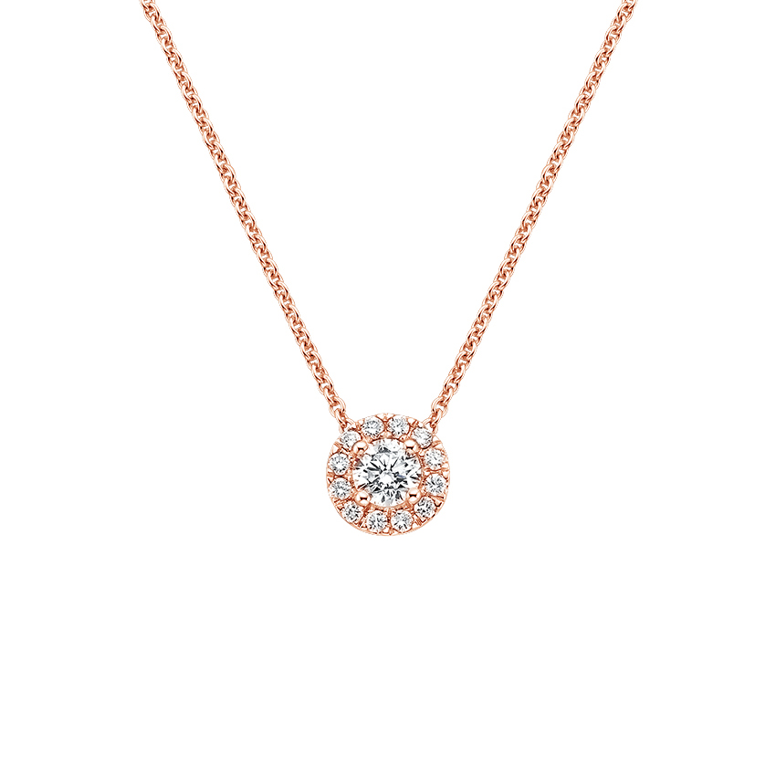 14K Rose Gold Diamond Halo Pendant, top view