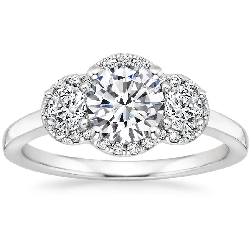 Platinum Three Stone Halo Diamond Ring 1 2 Ct Tw