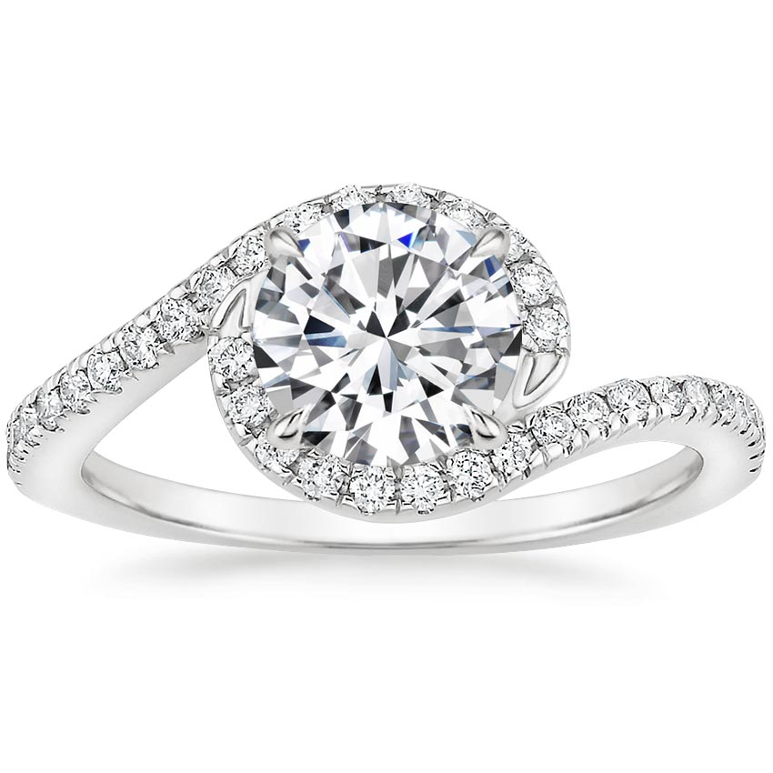 Round Pavé Swirl Engagement Ring