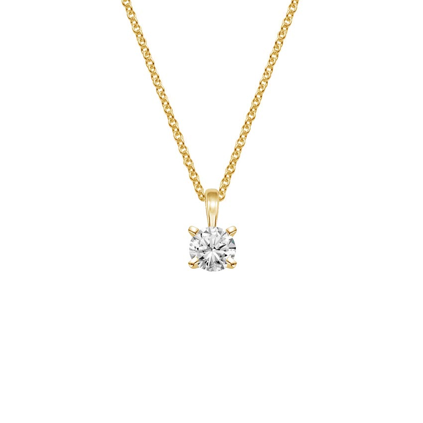18K Yellow Gold Single Bail Four Prong Pendant, top view