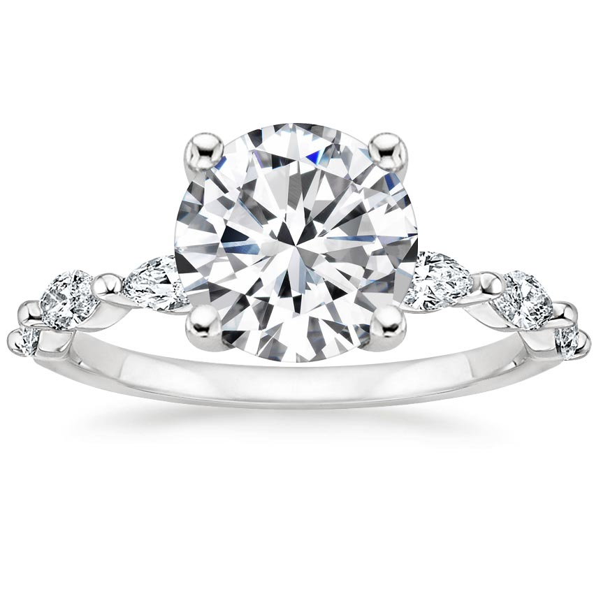 Round Marquise Engagement Ring