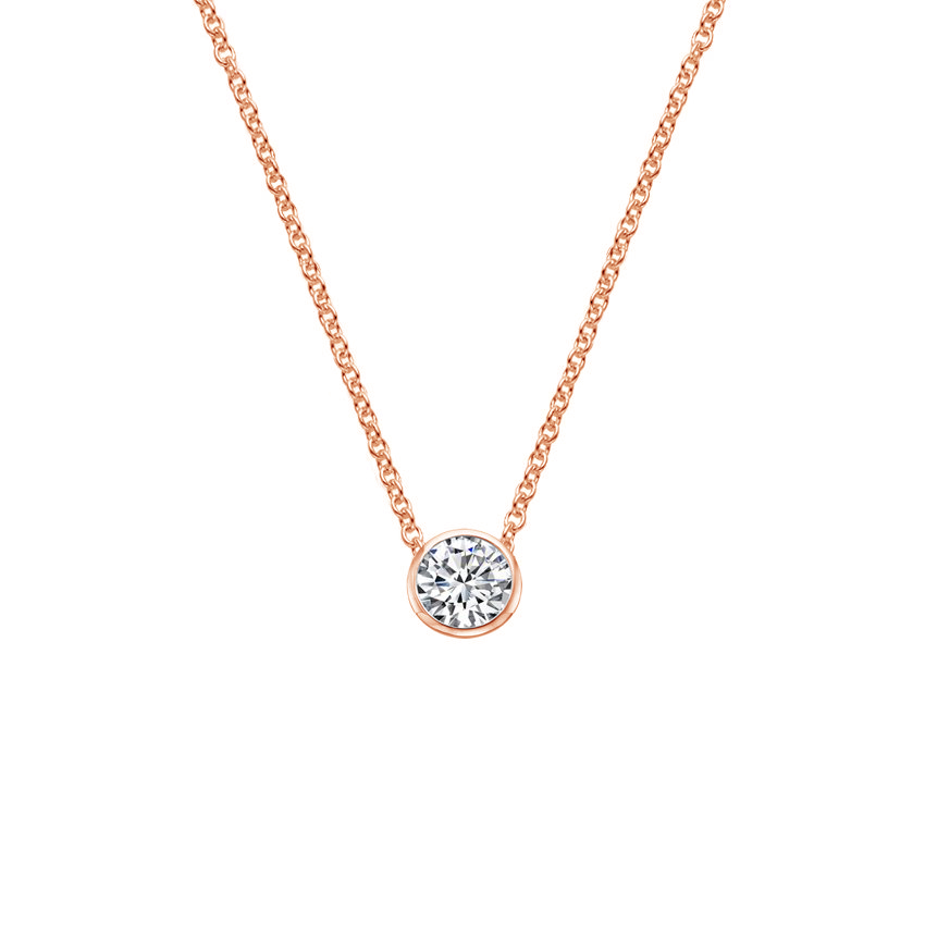 14K Rose Gold Bezel Pendant, top view