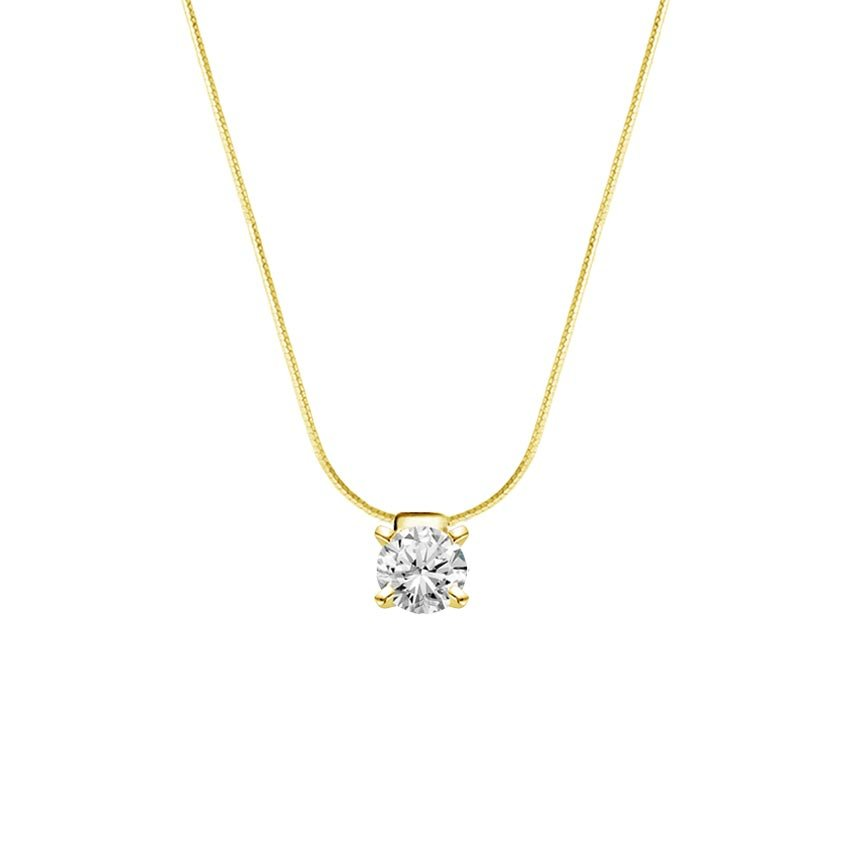 18K Yellow Gold Floating Solitaire Pendant, top view