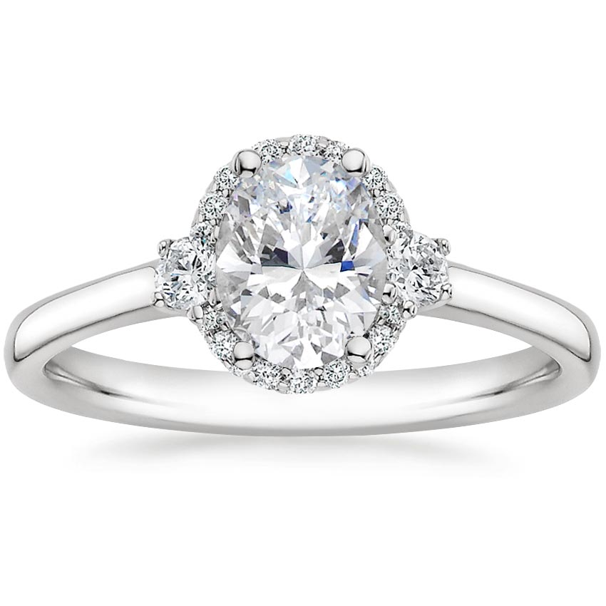Oval Delicate Three Stone Halo Diamond Ring