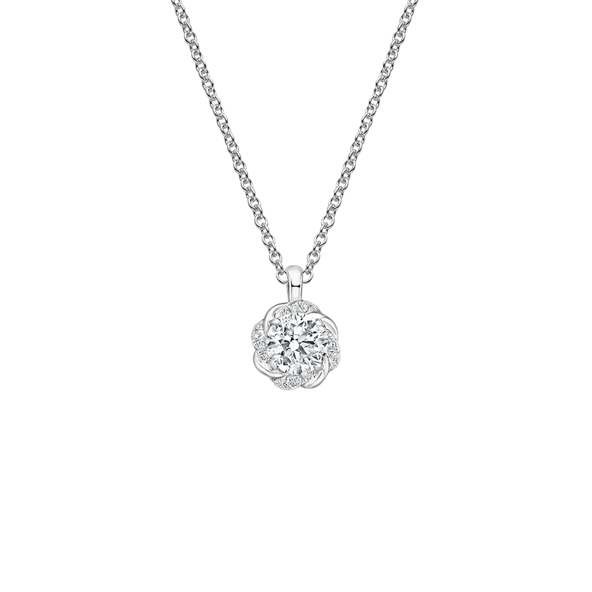 18K White Gold Oceana Diamond Pendant, top view