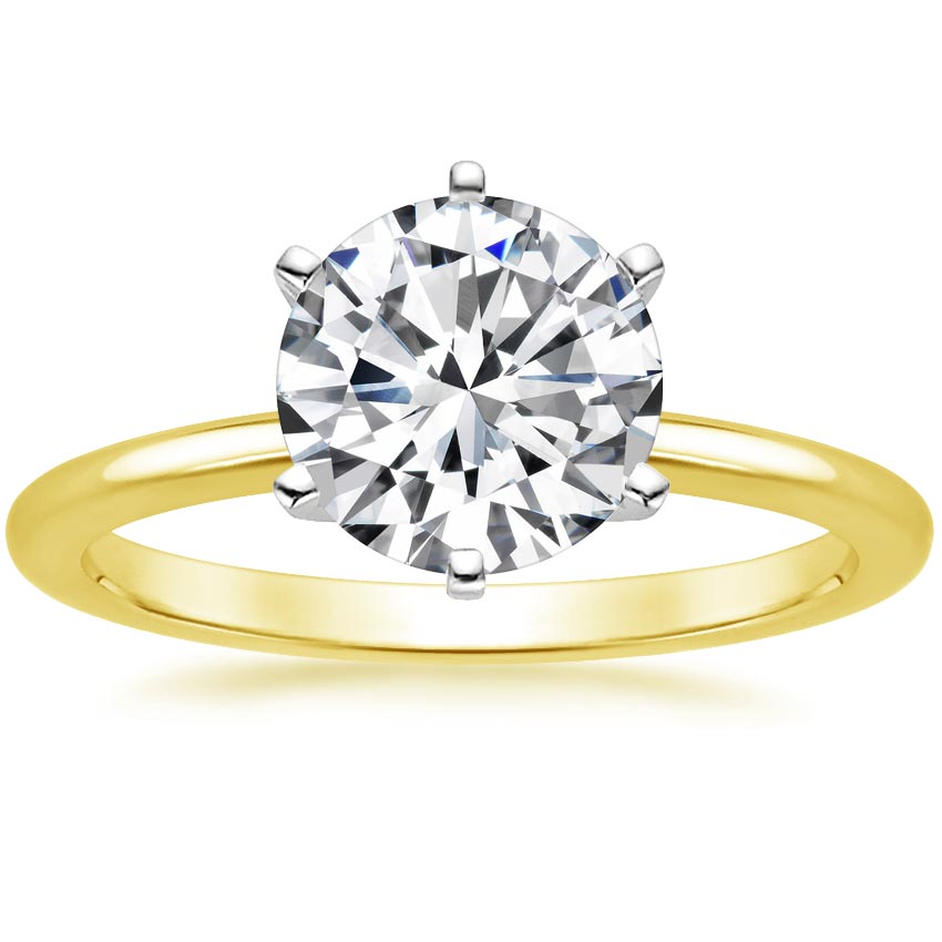 Round 18K Yellow Gold Six-Prong Petite Comfort Fit Ring