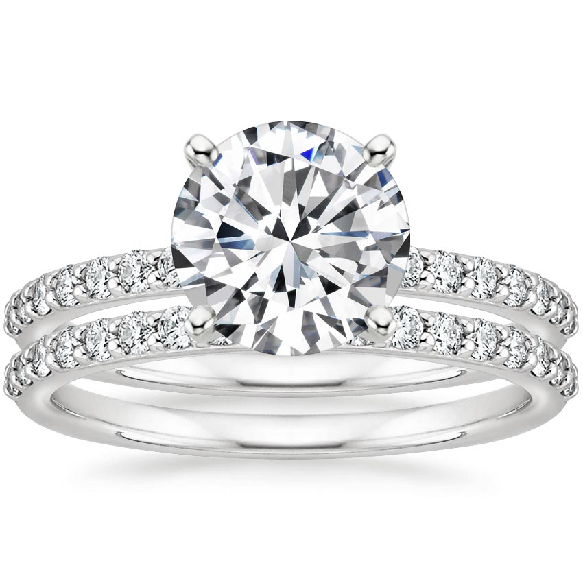 18K White Gold Petite Shared Prong Bridal Set (1/2 ct. tw.)
