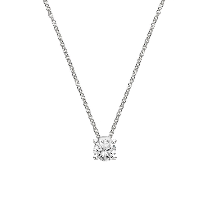 Platinum Floating Solitaire Pendant, top view