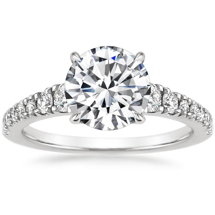 Round 18K White Gold Simone Diamond Ring