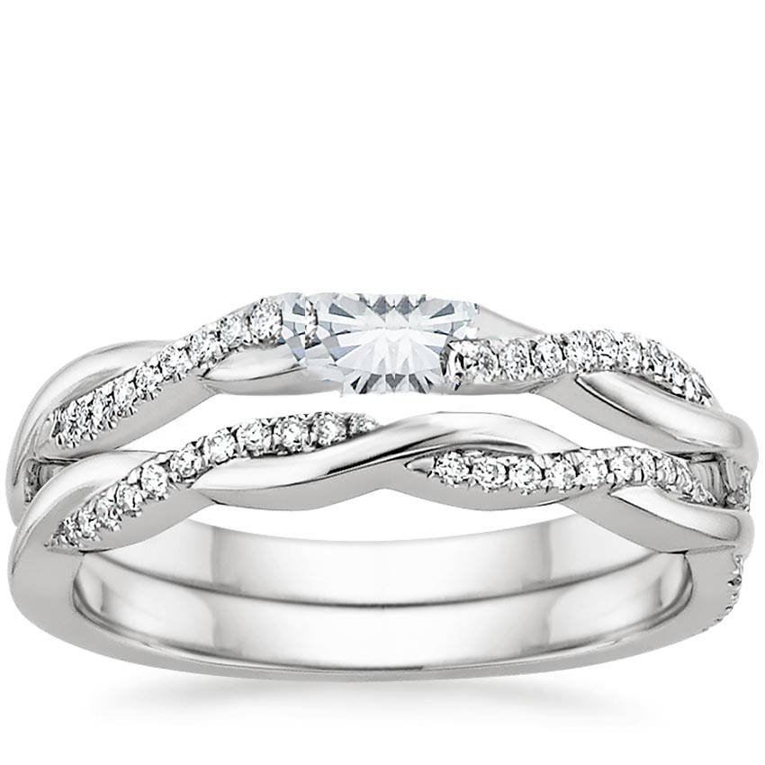 18k white gold petite twisted vine diamond bridal set - Wedding Engagement Ring Sets