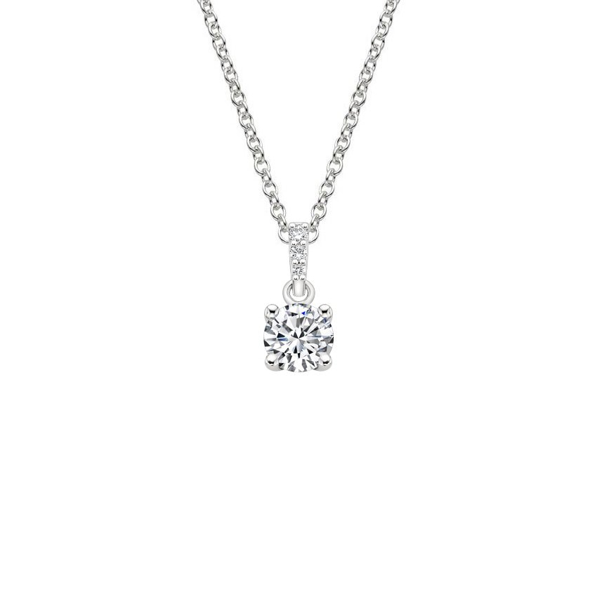 18K White Gold Pavé Diamond Bail Pendant, top view