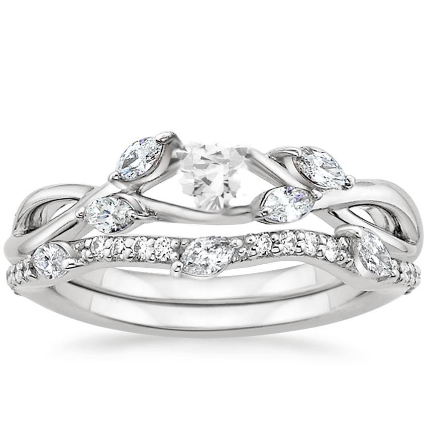 18k white gold willow diamond ring - White Gold Diamond Wedding Rings