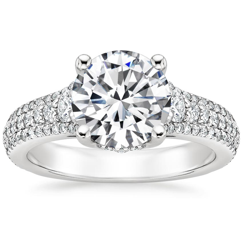 Round Three Row Diamond Engagement Ring