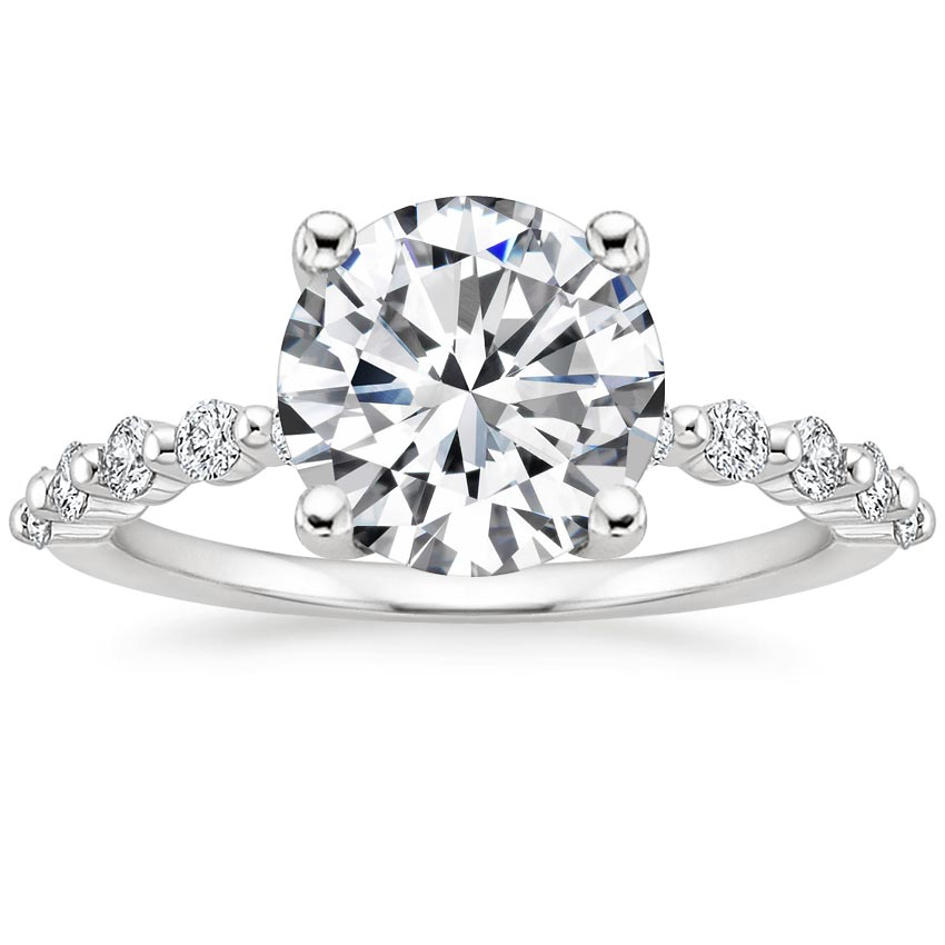 Round Single Shared Prong Engagement Ring