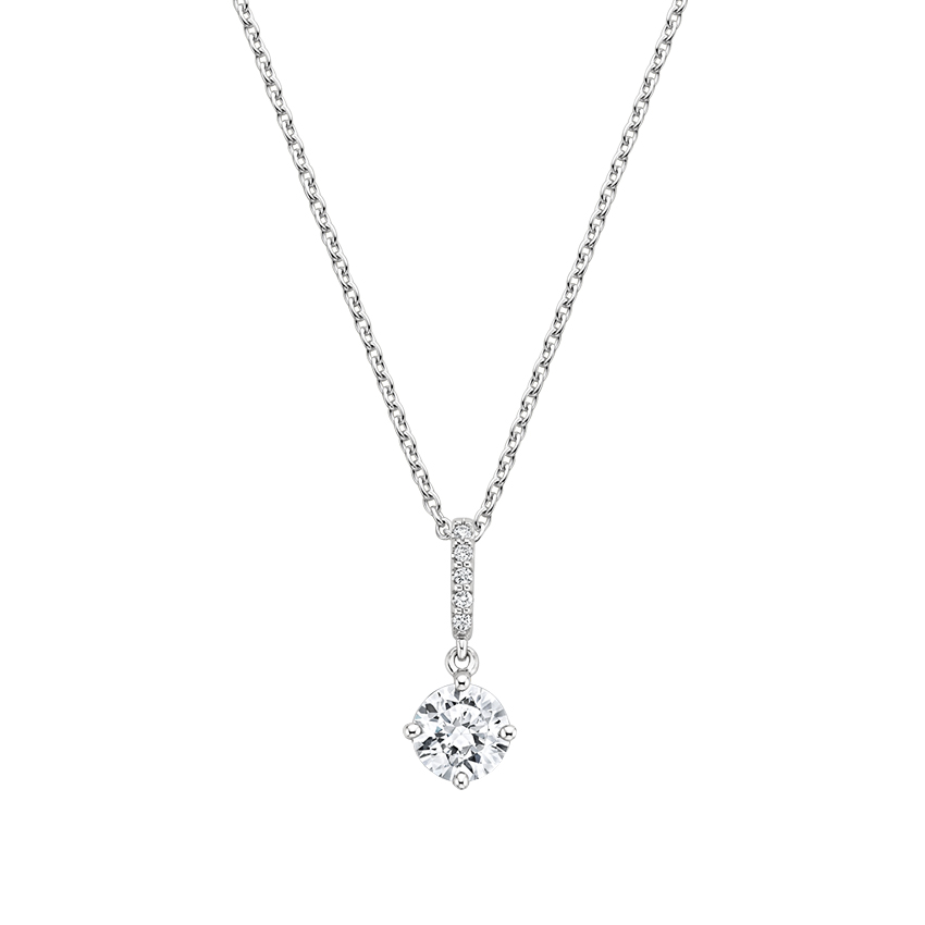 18K White Gold Compass Point Diamond Pavé Pendant, top view